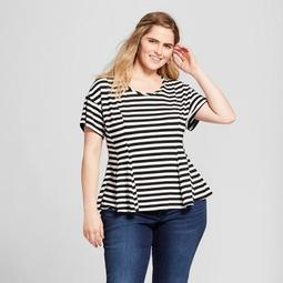 Women's Plus Size Striped Short Sleeve T-Shirt - Xhilaration™ Black/White