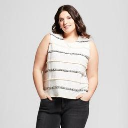 Women's Plus Size Striped Fringe Tank - A New Day™ Cream