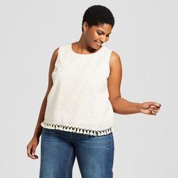 Women's Plus Size Shine Tassel Trim Tank - A New Day™ Cream