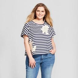 Women's Plus Size Striped Crochet Applique T-Shirt - Xhilaration™ Navy/White