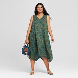 Women's Plus Size Printed A Line Dress - Ava & Viv™ Olive