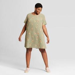 8030dbc1 Ava & Viv™ Women's Plus Size Floral Print T-Shirt Shift Dress