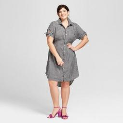 Ava & Viv™ Women\'s Plus Size Gingham Short Sleeve Shirtdress - Ava & Viv™  Black - On Sale for $19.58 (regular price: $27.98)