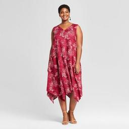 Women's Plus Size Printed A Line Dress - Ava & Viv™ Burgundy