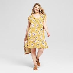Women's Plus Size Floral Print Keyhole Knit Dress - Xhilaration™
