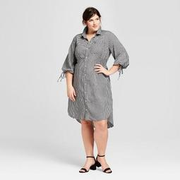 Women's Plus Size Gingham Long Sleeve Shirtdress - Ava & Viv™ Black