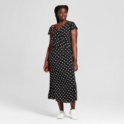 Xhilaration™ Women\'s Plus Size Polka Dot Short Sleeve Maxi Dress -  Xhilaration™ Black/White - On Sale for $24.49 (regular price: $34.99)