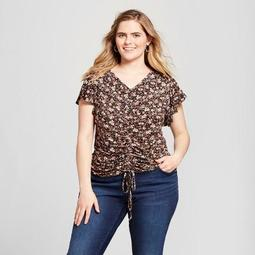Women's Plus Size Floral Ruched Short Sleeve Top - Xhilaration™ Brown
