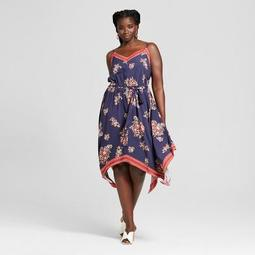 Xhilaration™ Women\'s Plus Size Floral Print Handkerchief Hem Dress