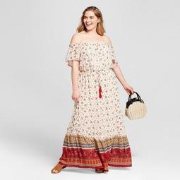 Women's Plus Size Floral Print Off the Shoulder Maxi Dress - Xhilaration™ Ivory