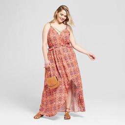 Women's Plus Size Printed High-Low Maxi Dress - Xhilaration™ Coral