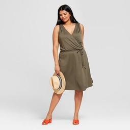Women's Plus Size Knit Wrap Dress - A New Day™