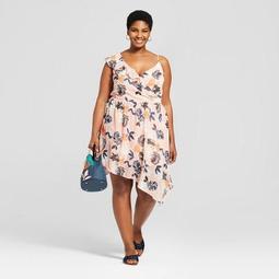 Women's Plus Size Floral Print Sleeveless Wrap Dress - A New Day™ Peach