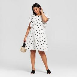 A New Day™ Women\'s Plus Size Polka Dot Short Sleeve Ruffle Sleeve Dress - A  New Day™ White/Black - On Sale for $20.98 (regular price: $29.98)