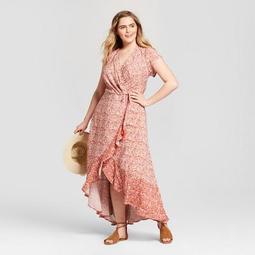 Xhilaration™ Women\'s Plus Size Floral Print V-Neck Maxi Dress -  Xhilaration™ Pink - On Sale for $24.49 (regular price: $34.99)