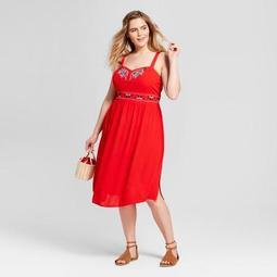 Women's Plus Size Embroidered Midi Sundress - Xhilaration™ Red