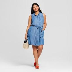 Women's Plus Size Sleeveless Shirtdress - A New Day™ Blue