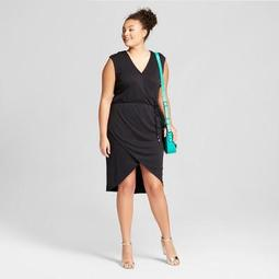 A New Day™ Women\'s Plus Size Sleeveless Knit Wrap Dress - A New Day™ Black  - On Sale for $19.58 (regular price: $27.98)