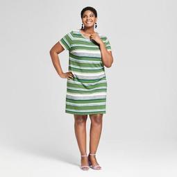 Ava & Viv™ Women\'s Plus Size Striped T-Shirt Dress - Ava &