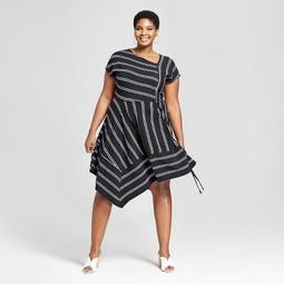 Ava & Viv™ Women\'s Plus Size Striped Asymmetrical Knit Dress -