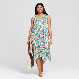 Women's Plus Size Floral Print A Line Dress - Ava & Viv™ Teal