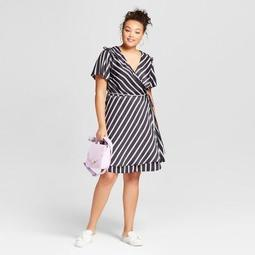A New Day™ Women\'s Plus Size Striped Short Sleeve Wrap Dress - A New Day™  Black - On Sale for $20.98 (regular price: $29.98)