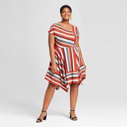 Women's Plus Size Striped Asymmetrical Knit Dress - Ava & Viv™ Rust