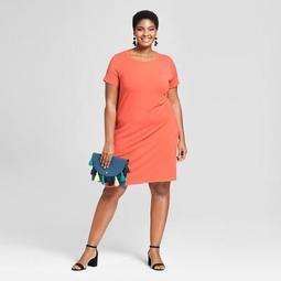 Women's Plus Size T-Shirt Dress - Ava & Viv™ Orange