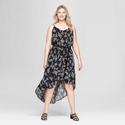 Women's Plus Size Geometric Print High Low Maxi Dress - Ava & Viv™ Black