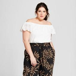 Women's Plus Size Printed Cropped Wrap Pants - A New Day™ Black