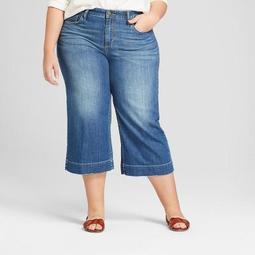 Women's Plus Size Wide Leg Crop Jeans - Universal Thread™ Medium Wash