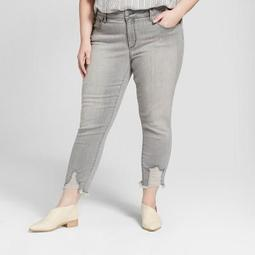Women's Plus Size Destructed Hem Skinny Crop Jeans - Universal Thread™ Gray Wash