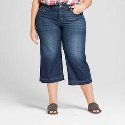 Women's Plus Size Wide Leg Crop Jeans - Universal Thread™ Dark Wash