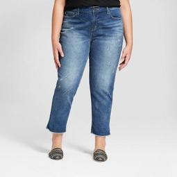 Women's Plus Size Roll Cuff Boyfriend Crop Jeans - Universal Thread™ Medium Wash