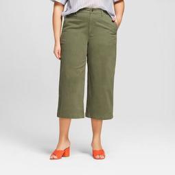 Women's Plus Size Wide Leg Denim Crop Pants - A New Day™ Olive