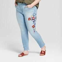 Women's Plus Size Embroidered Skinny Jeans - Universal Thread™ Light Wash