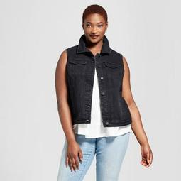 Women's Plus Size Denim Vest - Universal Thread™ Black
