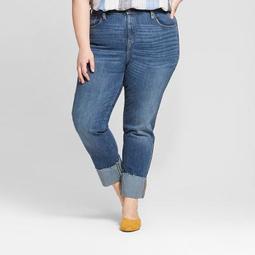 Women's Plus Size Roll Cuff Straight Jeans - Universal Thread™ Medium Wash