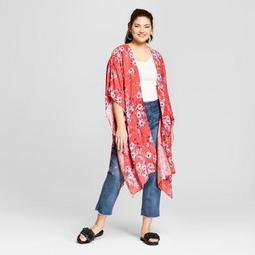 Women's Plus Size Floral Print Kimono - Xhilaration™ Coral
