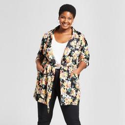 Women's Plus Size Floral Print Blazer - Ava & Viv™ Black