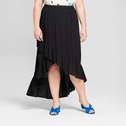 Women's Plus Size Asymmetric Ruffle Skirt - A New Day™ Black