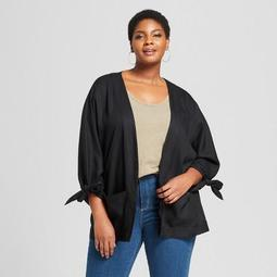 Women's Plus Size Tie Cuff Open Kimono Jacket - Ava & Viv™ Black