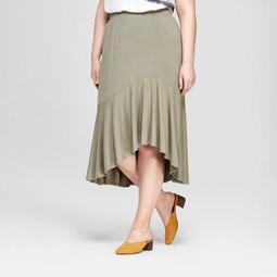 Women's Plus Size Ruffle Hem High Low Skirt - Ava & Viv™