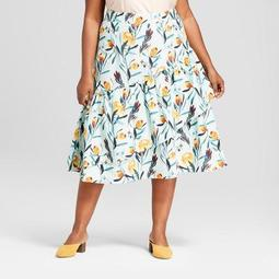 Women's Plus Size Floral Print Ruffle Wrap Skirt - Ava & Viv™ Light Blue
