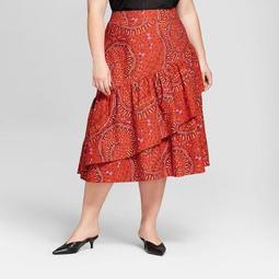 Women's Plus Size Floral Print Ruffle Wrap Skirt - Ava & Viv™ Rust