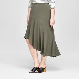 Women's Plus Size Ruffle Hem High Low Maxi Skirt - Ava & Viv™ Olive