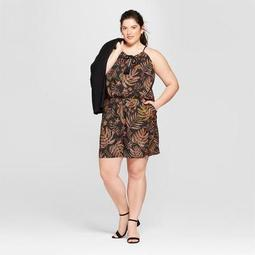 Women's Plus Size Printed Halter Romper - A New Day™