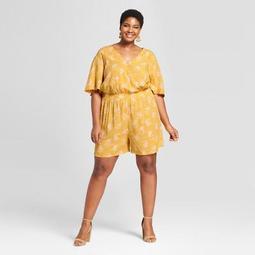 Women's Plus Size Floral Print Romper - Ava & Viv™ Yellow