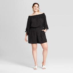 Women's Plus Size Polka Dot Off the Shoulder Romper - Xhilaration™ Black