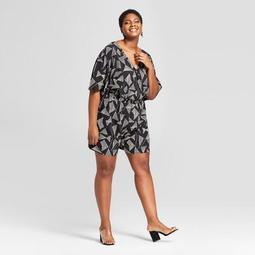 Women's Plus Size Floral Print Romper - Ava & Viv™ Black